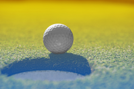 caddie: golf ball on lip of cup. One more shot