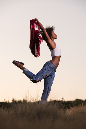 woman in field: Young beautiful black girl laughs and dances outdoors with a scarf in her hands in a meadow during sunset Stock Photo