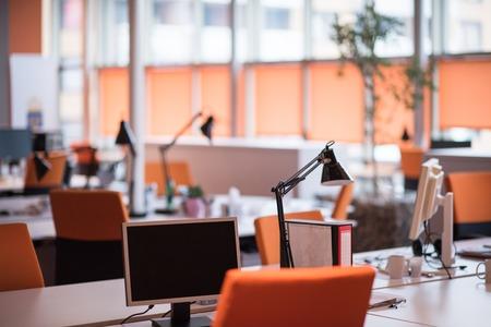 Empty Modern Open Plan Office Standard-Bild