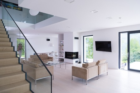 Architecture, Interior, modern apartment, wide living room Stok Fotoğraf