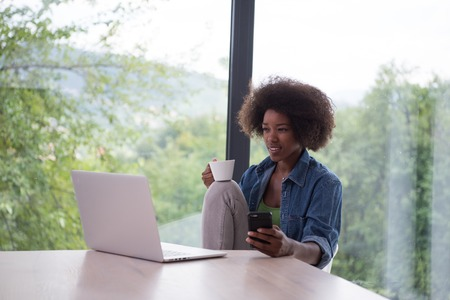 downcast: Young african american woman smiling sitting near bright window while looking at open laptop computer on table and holding white mug in her luxury home