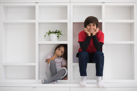 lối sống: happy young boys are having fun while posing on a shelf in a new modern home