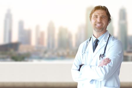 Portrait of senior doctor in hospital room