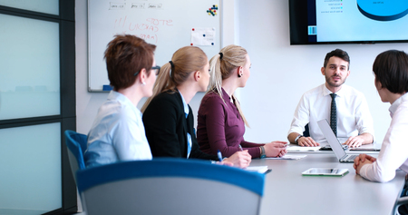 consultants: Business Partners Meeting In Modern Office