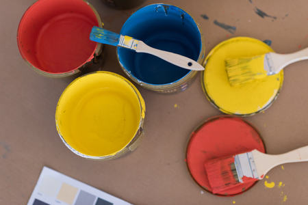 prepared color for painting the wall Stock Photo
