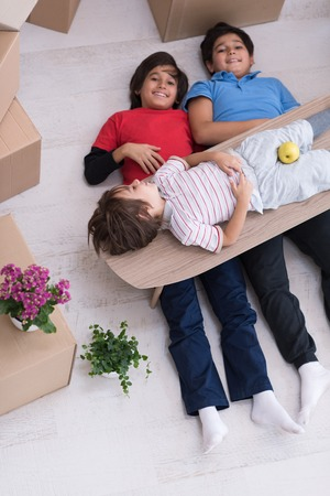 portrait of happy young boys with cardboard boxes around them in a new modern home top view Zdjęcie Seryjne