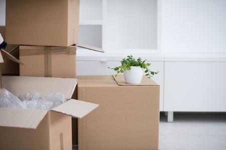Verhuisdozen in lege ruimte Stockfoto