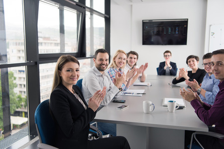 business team meeting in modern start up office and branistorming about new  business plan Stock Photo