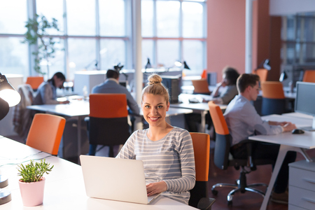 Young female Entrepreneur Freelancer Working Using A Laptop In Coworking space Standard-Bild