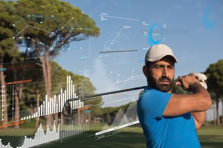 pro golf player shot the ball from sand bunker at course with infographics in the background Stock Photo