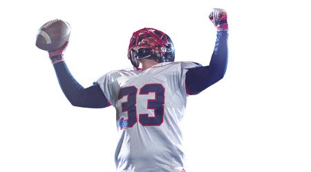 American Football-Spieler feiert nach einem Touchdown isoliert auf weißem Hintergrund Standard-Bild - 92249649
