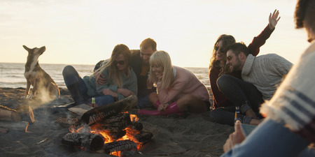 Group of friends with dog relaxing around bonfire on the beach at sunset