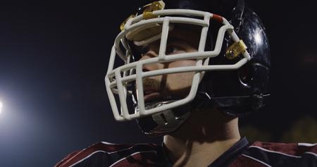 Closeup Portrait Of Young Male American Football Player Banco de Imagens
