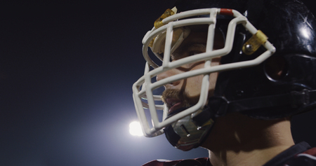 Closeup Portrait Of Young Male American Football Player Stock Photo