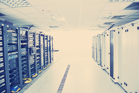 network server room with computers for digital tv ip communications and internet 스톡 콘텐츠