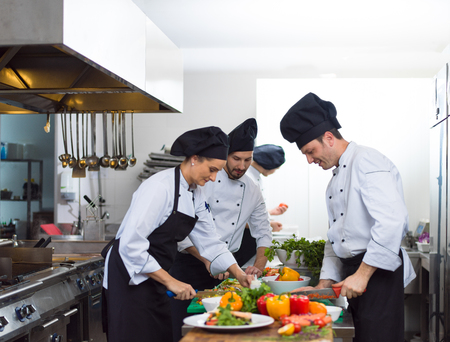 Professional team cooks and chefs preparing meals at busy hotel or restaurant  kitchen Stok Fotoğraf - 101426840