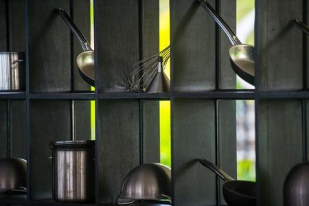modern restaurant  outdoor kitchen  cookware decoration background