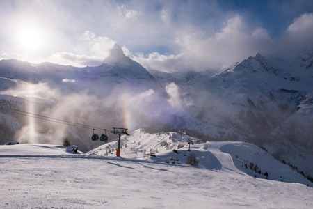 mountain matterhorn zermatt switzerland with fresh snow on beautiful winter day Stock Photo