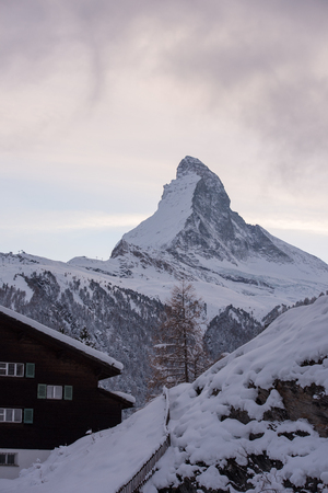 mountain matterhorn zermatt switzerland with fresh snow on beautiful winter day Stock Photo