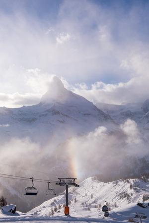 mountain matterhorn zermatt switzerland with fresh snow on beautiful winter day