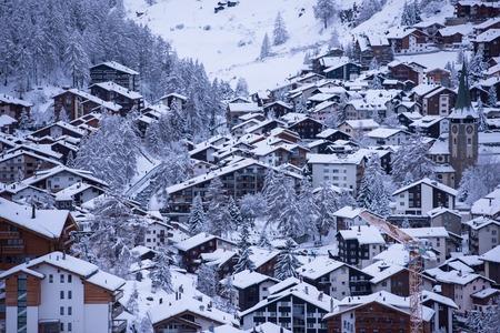 landscape of Zermatt valley and matterhorn peak with fresh snow in switzerland