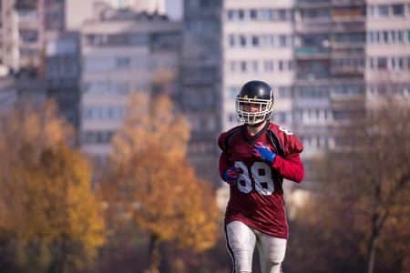 young american football player in action during the training at field Stock Photo