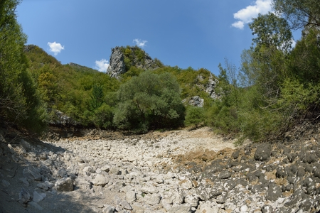 Wild river dried riverbed on summer day climate change  signals Standard-Bild - 111175427