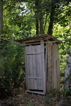 Old wooden retro outdoor toilet in forest Фото со стока