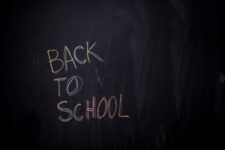Back to school drawing on black chalkboard