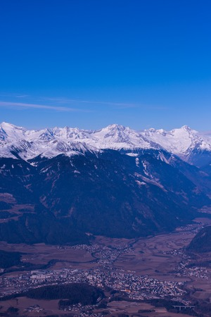winter mountains beautiful alpine panoramic view snow capped European alps
