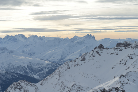 winter mountains beautiful alpine panoramic view of fresh snow capped French alps
