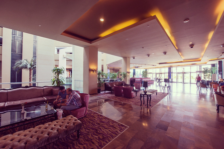 Luxury lobby interior of a modern hotel resort