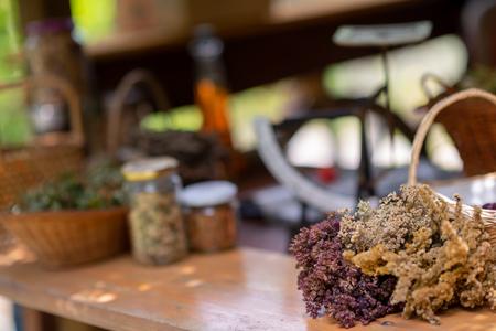 Herbalist workshop with bottles and healing herbs Zdjęcie Seryjne