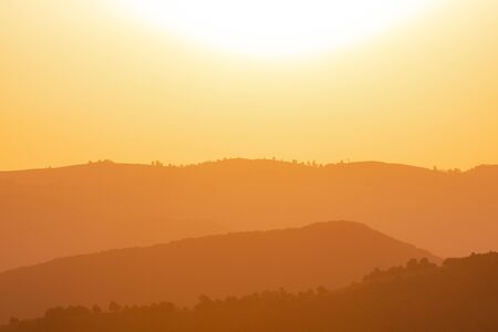Golden landscape of  summer nature in sunset in mountains and hills on countryside abstract lines and curves