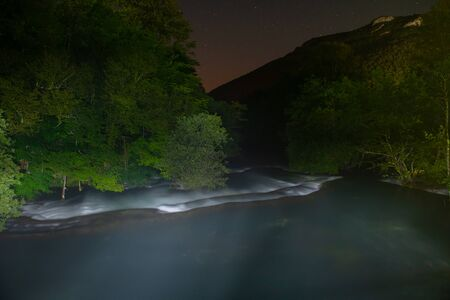 waterfalls in dark night beautiful nature with crystal clear water on wild river una in bosnia and herzegovina