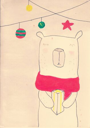 white polar bear with red scarf holding a gift hand painted drawn gift christmas post card
