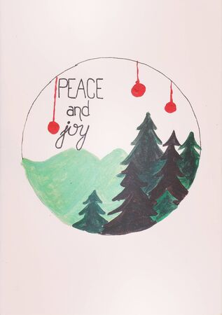 vintage postcard peace and joy slogan hand writen and drawn christmass and new year background design Foto de archivo - 129722603