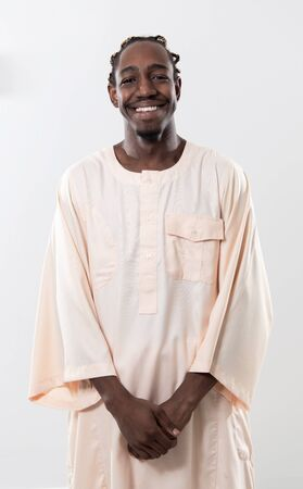 portrait of  handsome african black man in traditional islamin sudan fashion clothes Stock Photo