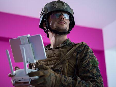 modern warfare soldier as drone control technician