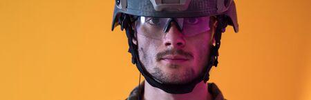 modern warfare futuristic soldier using vr virtual reality glasses Stok Fotoğraf