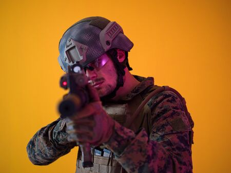 modern warfare american marines soldier aiming with laser beam  riffle