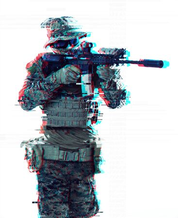 modern warfare american marines soldier aiming  on laseer sight optics  in combat position and searching for target glitch effect Stock Photo