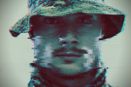 soldier military army glitch computer error design Stock fotó