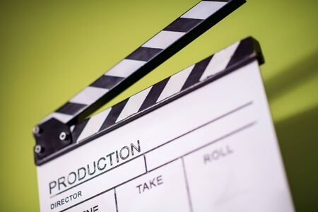 video production movie clapper cinema action and cut concept isolated on green chroma background