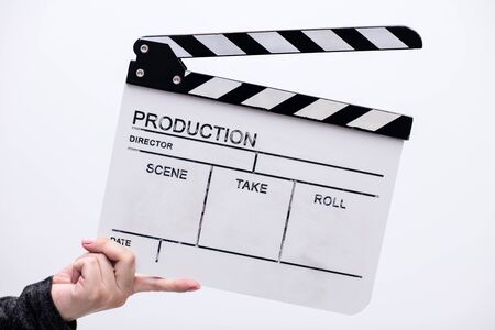 video production movie clapper cinema action and cut concept isolated on white background Banco de Imagens
