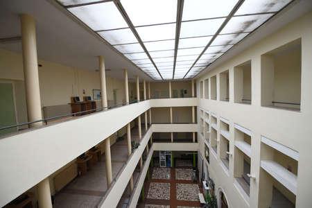 empty university collage school lobby back to school in coronavirus time