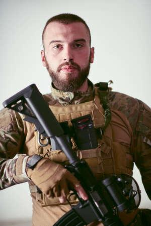 modern warfare soldier portrait as a hero in urban environment