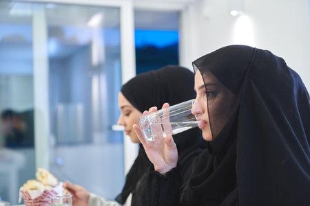 Muslim family having iftar together during Ramadan