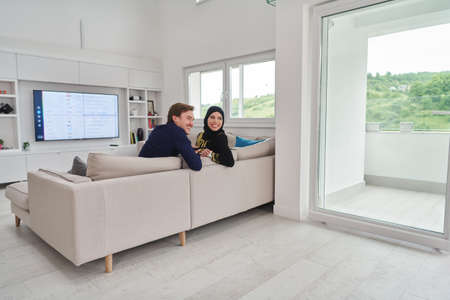 Young muslim couple enjoing time together at home during Ramadan