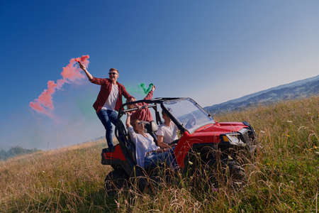 colorful torches while driving a off road buggy car